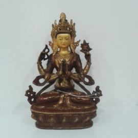 Chenrezig cobre y oro 15 cms.