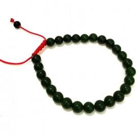 Mala de jade verde oscuro fina