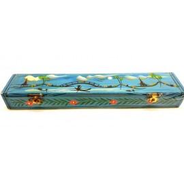 Caja de madera pintada doble incienso