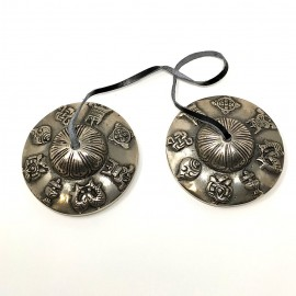 Tingsha grande bronce calidad- signos auspiciosos- 7,9 cms.