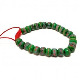 Pulsera de hueso esmaltado verde con pedrería