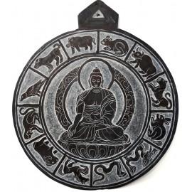 """Piedra tallada """"Shakyamuni + calendario tibetano"""" 20 cms."""