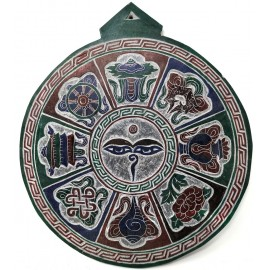"Piedra tallada ""Ojos de Buda + Astha mangala"" 22 cms."