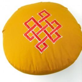 Zafu Cáscara espelta ecológica. Naranja con símbolos budistas