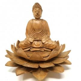 Buda de madera en flor de loto- 17 cms.