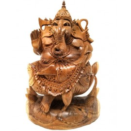 Ganesh sobre loto en madera- 23 cms.