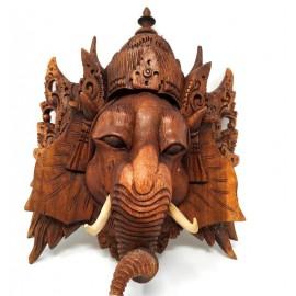 Cabeza Ganesh de madera- 27 cms.