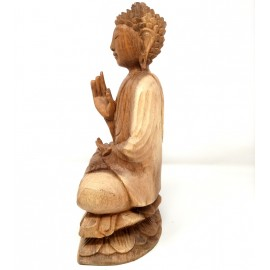 Buda de madera en flor de loto 30 cms.