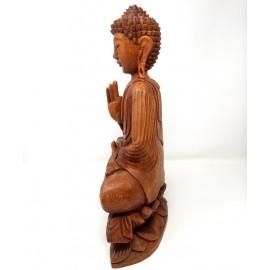 Buda de madera en flor de loto- 40 cms