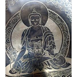 """Cuenco 7 metales grabado especial """"Shakyamuni"""" - 39 cms."""